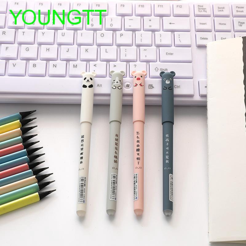 2 x Cute Kawaii Cartoon Cat Gel Ink Pen Ballpoint 0.35mm Blue Ink Student Pens