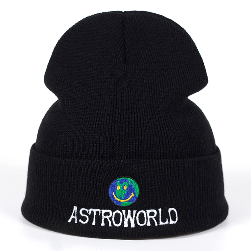 a6bde44a5 Travi$ Scott Knitted Hat ASTROWORLD Beanie embroidery Ski Warm Winter Caps
