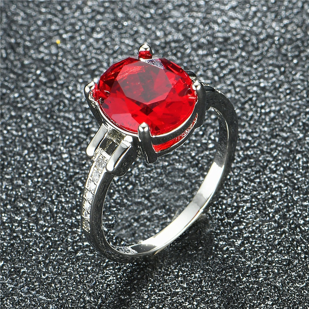 Simulated Red Garnet Round Cut Cubic Zirconia Womens 925 Sterling Silver Ring Sizes 6-10