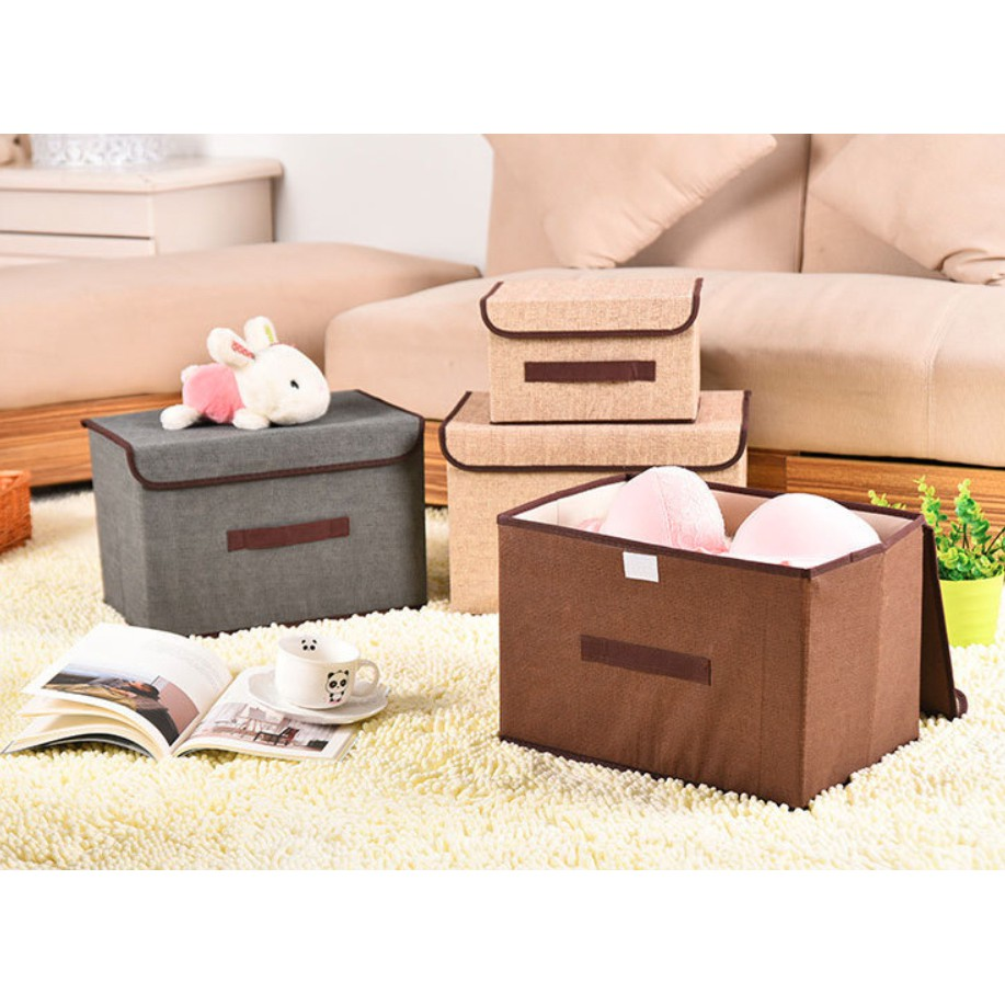 Storage Cube Box Fabric Foldable Collapsible Storage Box Bin Organizer Basket with Lid, Handles