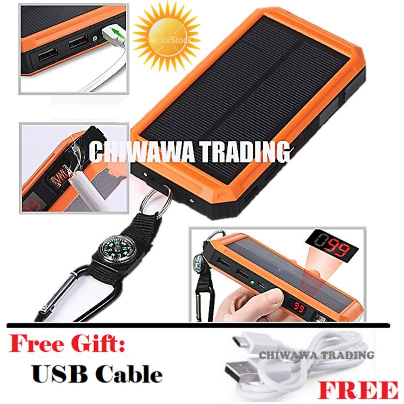 TX24【Free Gift : USB Cable】Cigarette Lighter - 30000mAh Solar Power Bank + LED Light