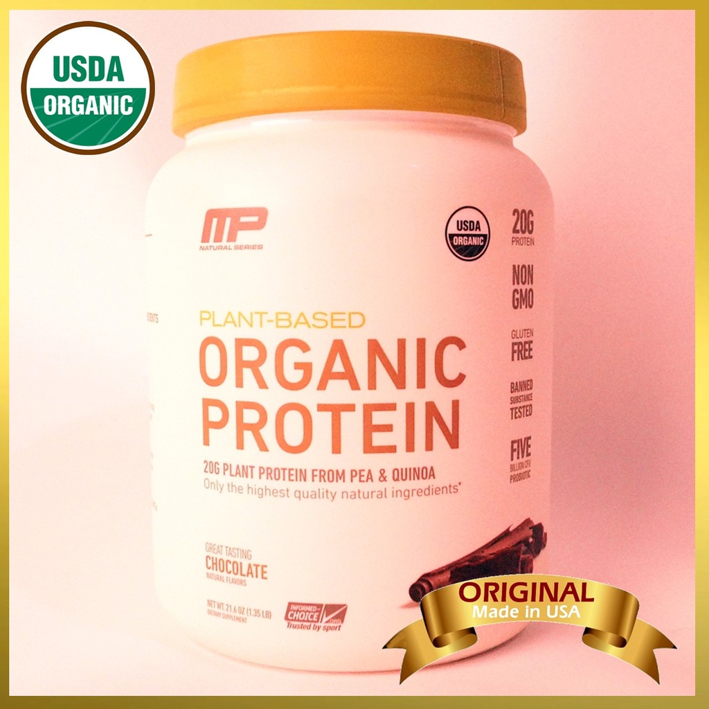 MusclePharm Organic Plant Based Protein Powder, Chocolate (1 35 lbs / 611 g)