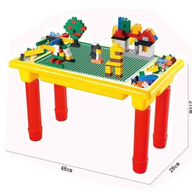 โต๊ะต่อเลโก้ 2 in1  โต๊ะเลโก้ แถมฟรีตัวต่อ 200