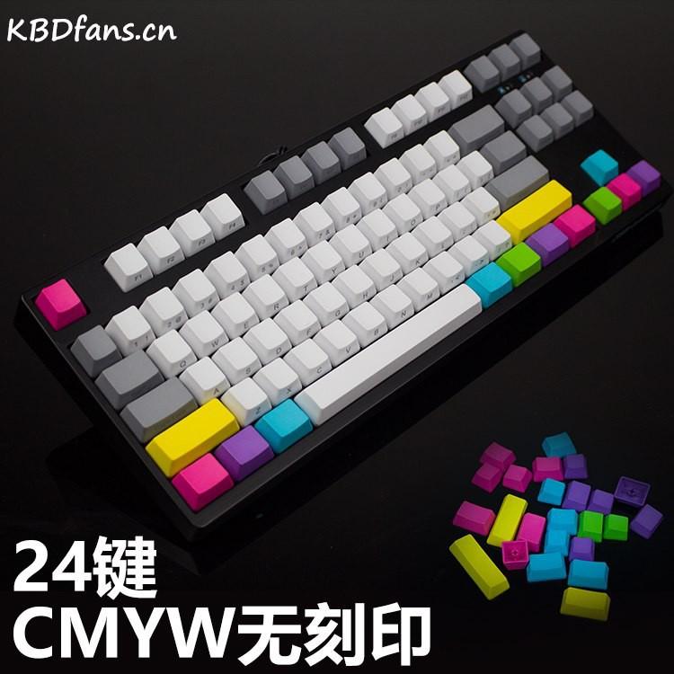 KBDfans oem PBT blank side top printed CMYW 24 wried Mechanical Keyboard  KeyCaps