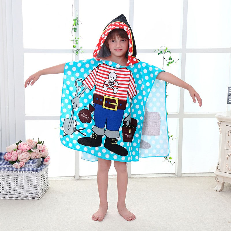 variety styles of 2019 new high quality best service Children's Hooded Bathrobe Cartoon Kids Beach Towel Poncho for Girls Boys