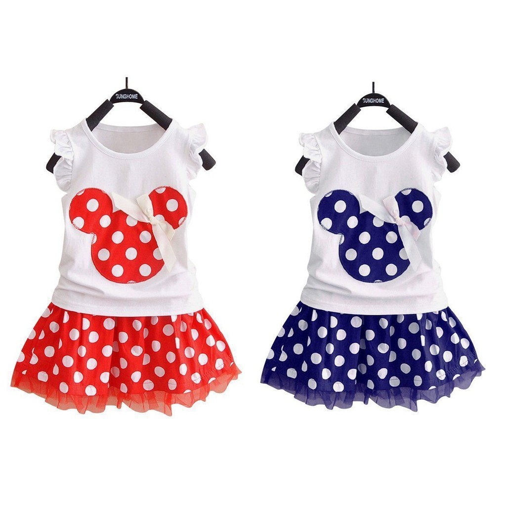 19218660 💖2Pcs Kids Baby Girl Minnie Mouse T-shirt+Tutu Dress Tulle Skirt Dots  Outfits