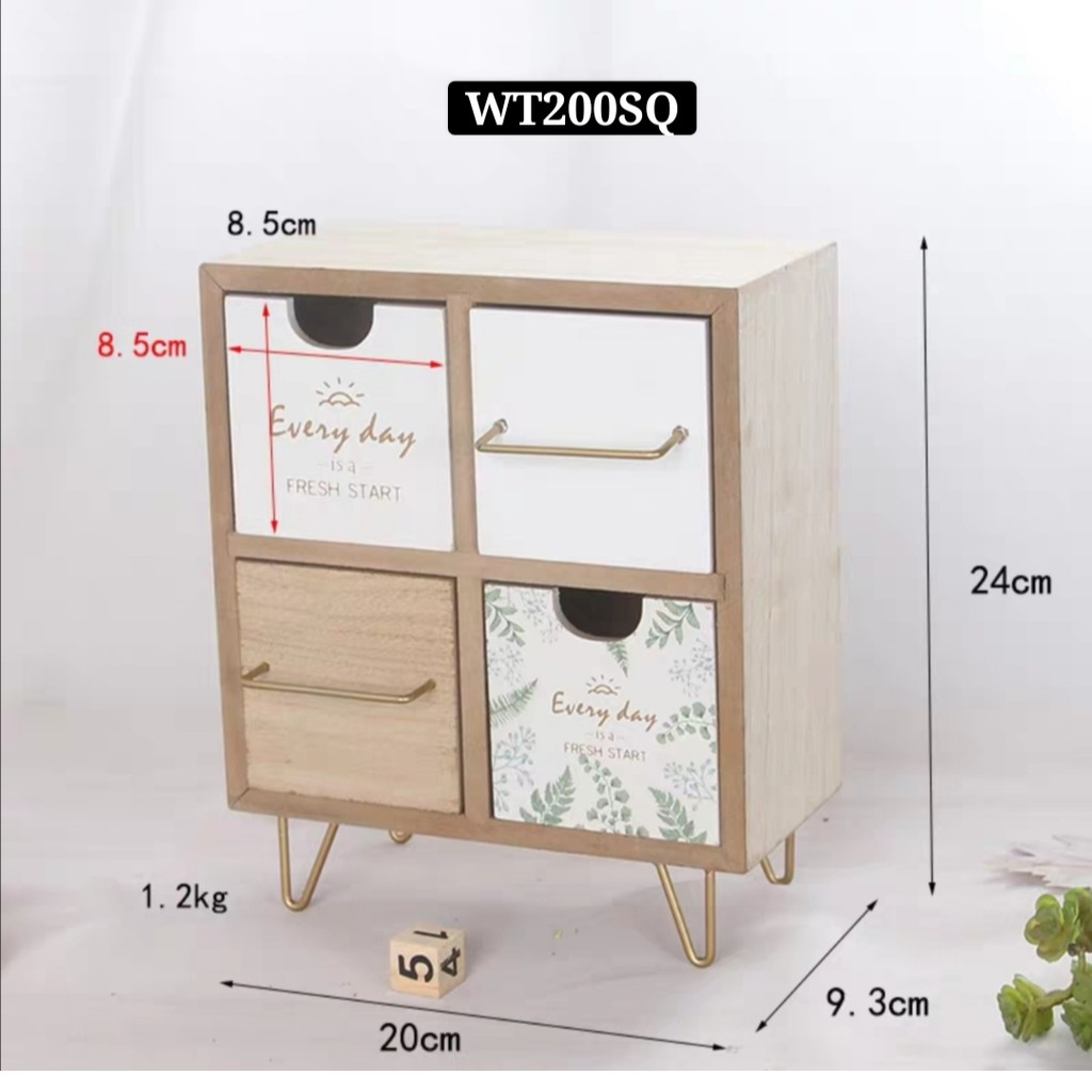 [ READY STOCK ]  Wooden Eco-Friendly Wood Board Makeup Organizer Drawer Multifunction Jewelry Box