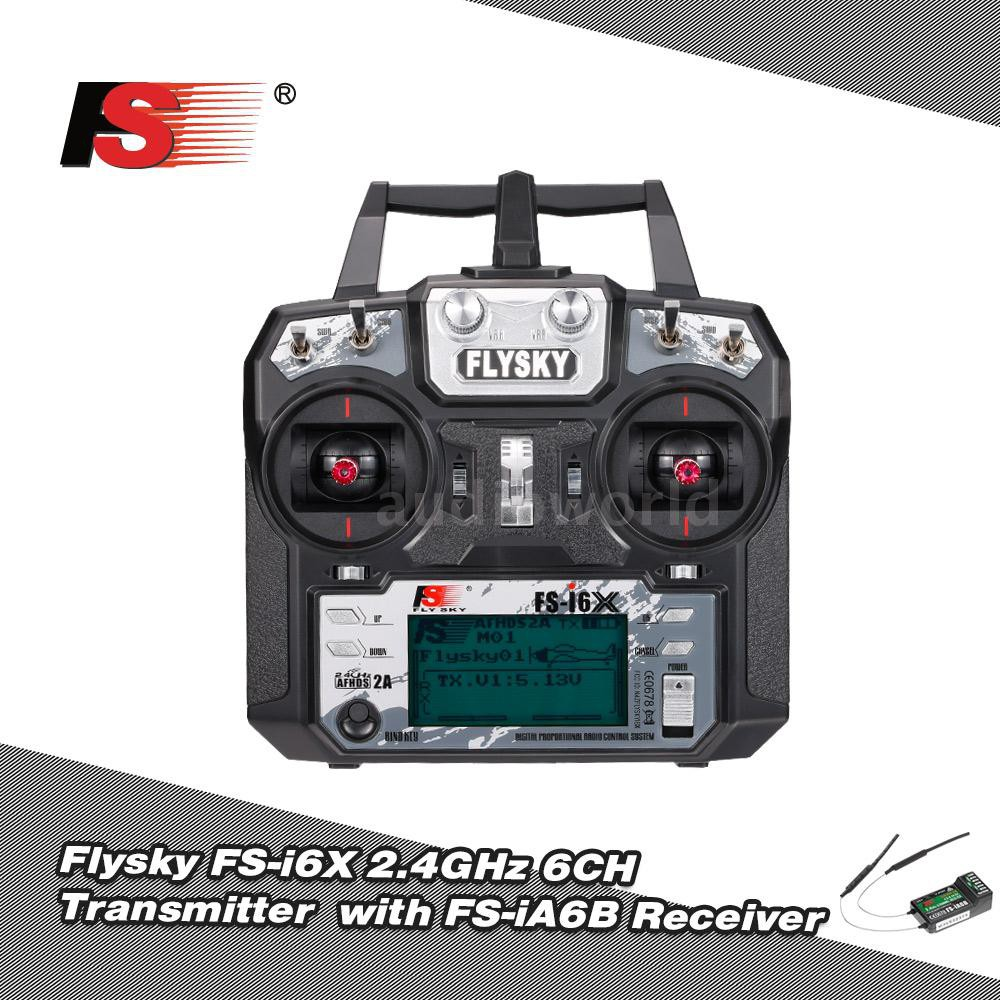 Flysky FS-i6X 2 4GHz 6CH AFHDS 2A RC Transmitter with FS-iA6B Receiver for  RC Dr