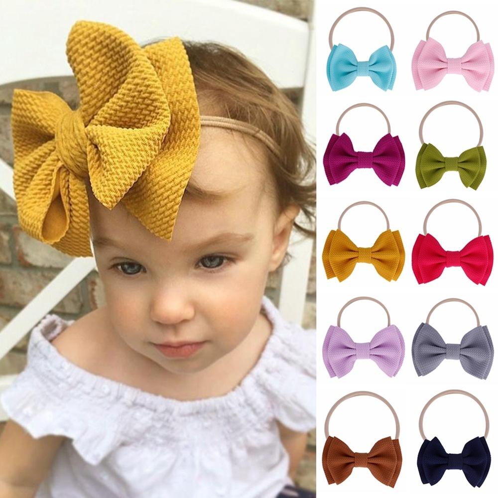 Cute Bow Headband Nylon Hairband Girls Baby Knotted Turban Head Wraps Elastic