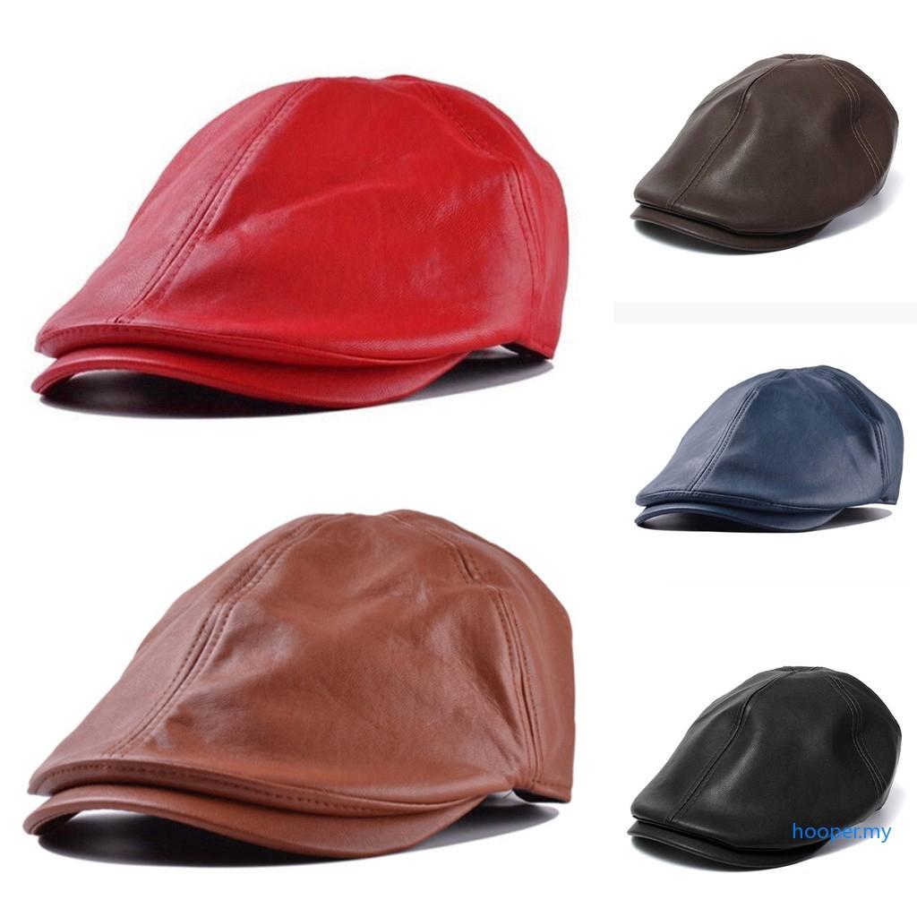 acc86ae9 Retro Women Men Leather Brim Flat Sailor Army Military Cadet Cap Sun Hats |  Shopee Malaysia