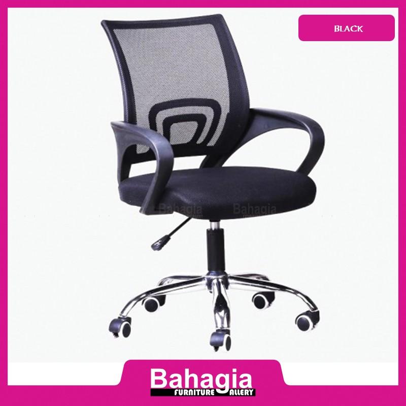 Bahagia Adjustable Office Chair With Chrome Leg Black