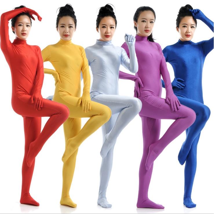 Women Full Bodysuit Jumpsuit Lycra Spandex Zentai Unitard Leotard Costume Purple