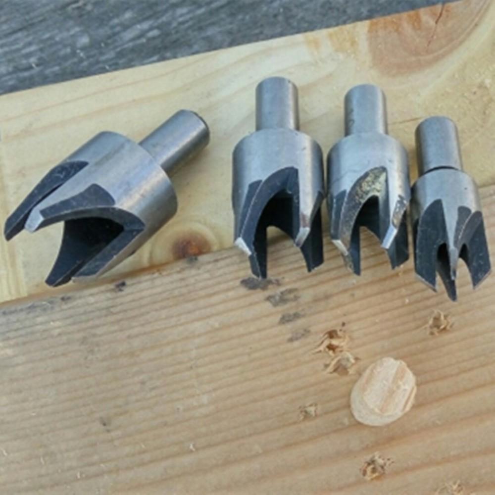 4pcs Wood Plug Hole Cutter Drill Bits Set Dowel Maker Cutting Tools Round Shank