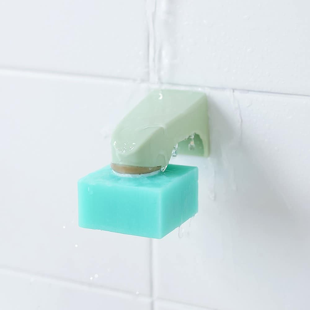 Soap Holder 3M Sticker Magnetic Solid Convenient Wall Mounted Easy Install Bathroom Punch Free Kitchen