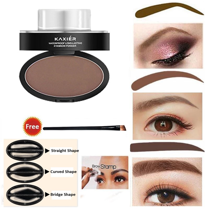 Lazy Quick Eyebrow Stamp Seal Tint Waterproof Long Lasting Eyes Brow Shadows Set Natural Shape Punch For Eyebrows Powder Palette Eyebrow Enhancers