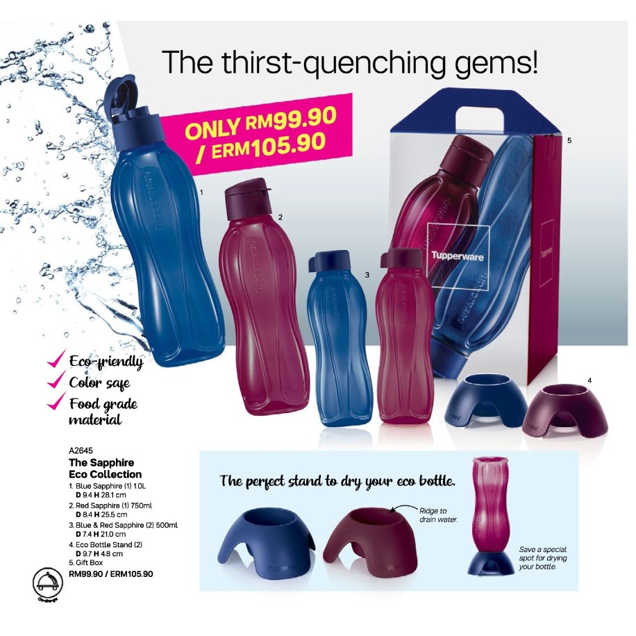 Tupperware The Sapphire Eco Collection / Choices Sizes 500ml /1 Liter /Red Sapphire/Blue Sapphire