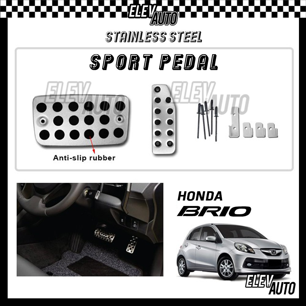 Honda Brio Stainless Steel Sport Pedal with Anti-slip Rubber