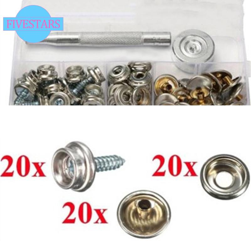 10x Snap Stud Stainless Steel Boat Canvas to Screw Fastener Kit With Metal Tools