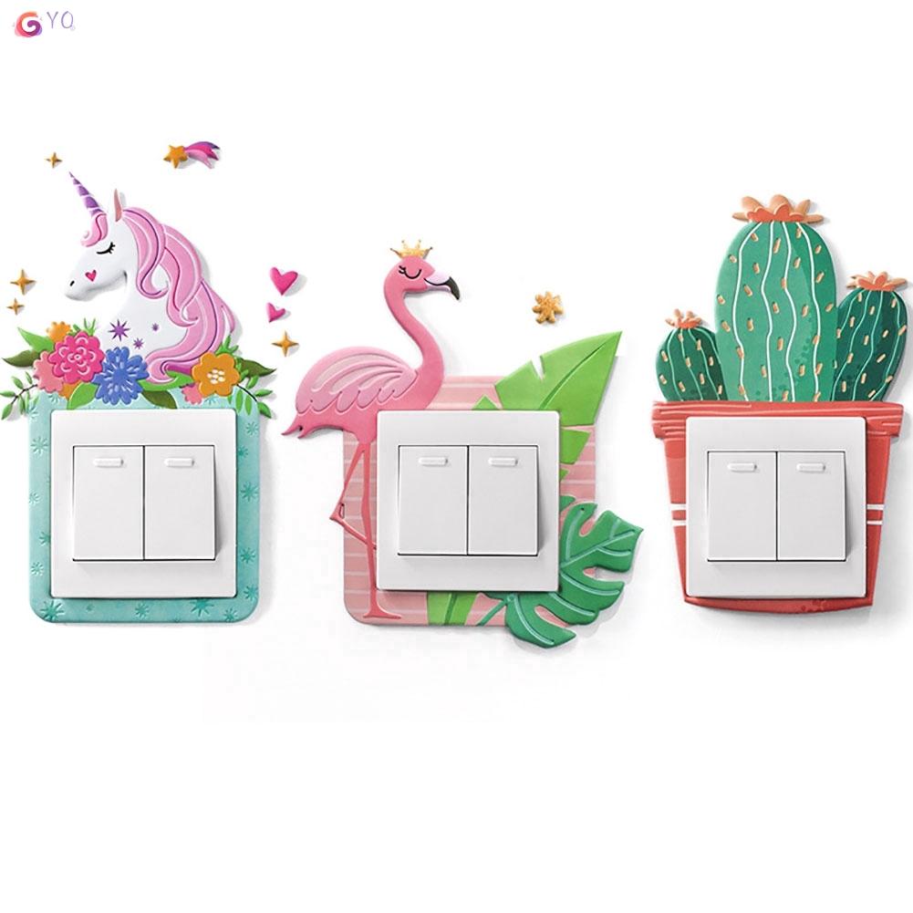[CELE]Stiker Dinding Dengan Bahan Silikon Dan Gambar Kartun Unicorn 3D Untuk Saklar Lampu