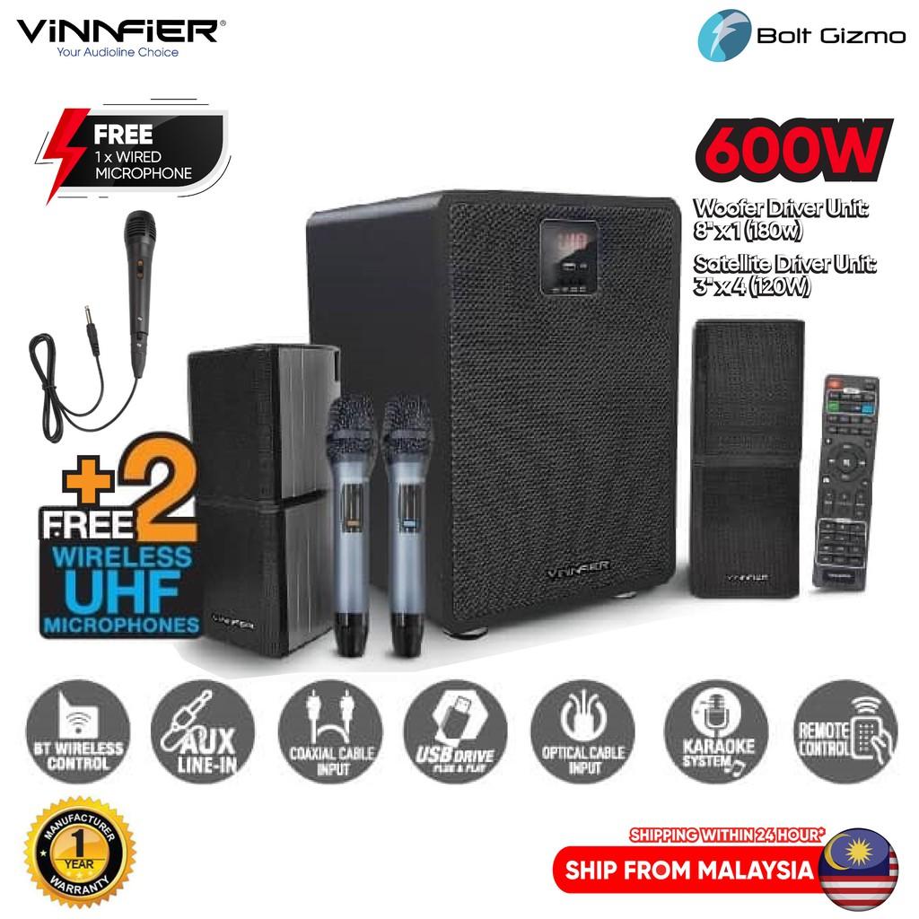Vinnfier Studio 500 BTRM High Performance Karaoke Speaker | Dual Wireless UHF Microphone Bluetooth, USB and SD Card Slot