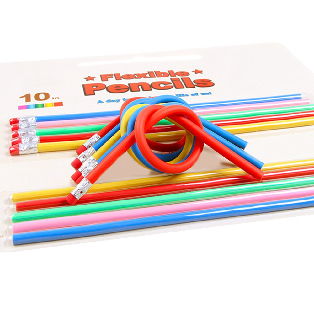 2//10Pcs Random Color Bendable Flexible Soft Pencil With Eraser Writing Funny Toy