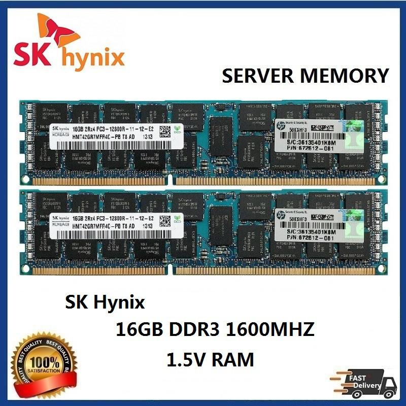 Micron 16GB 2X8GB 2RX4 PC3-12800R DDR3-1600 Ecc Reg Registered Server Ram Memory