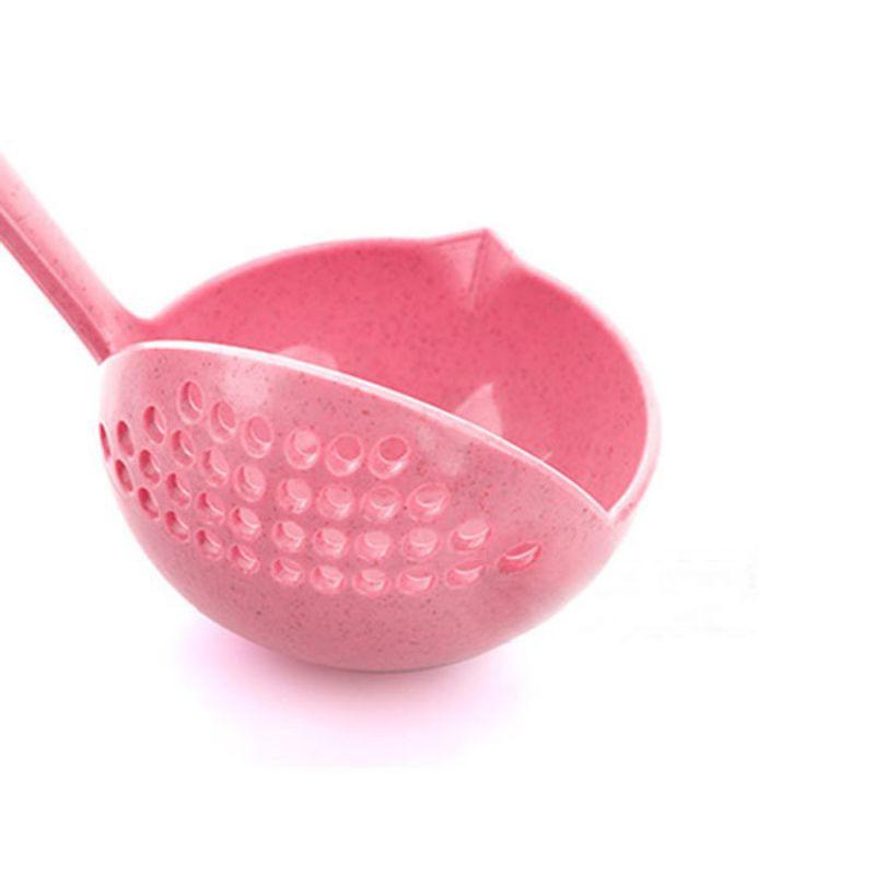 READY STOCK#小麦秸秆二合一家用厨房汤勺长柄塑料漏勺过滤网餐具火锅勺捞勺