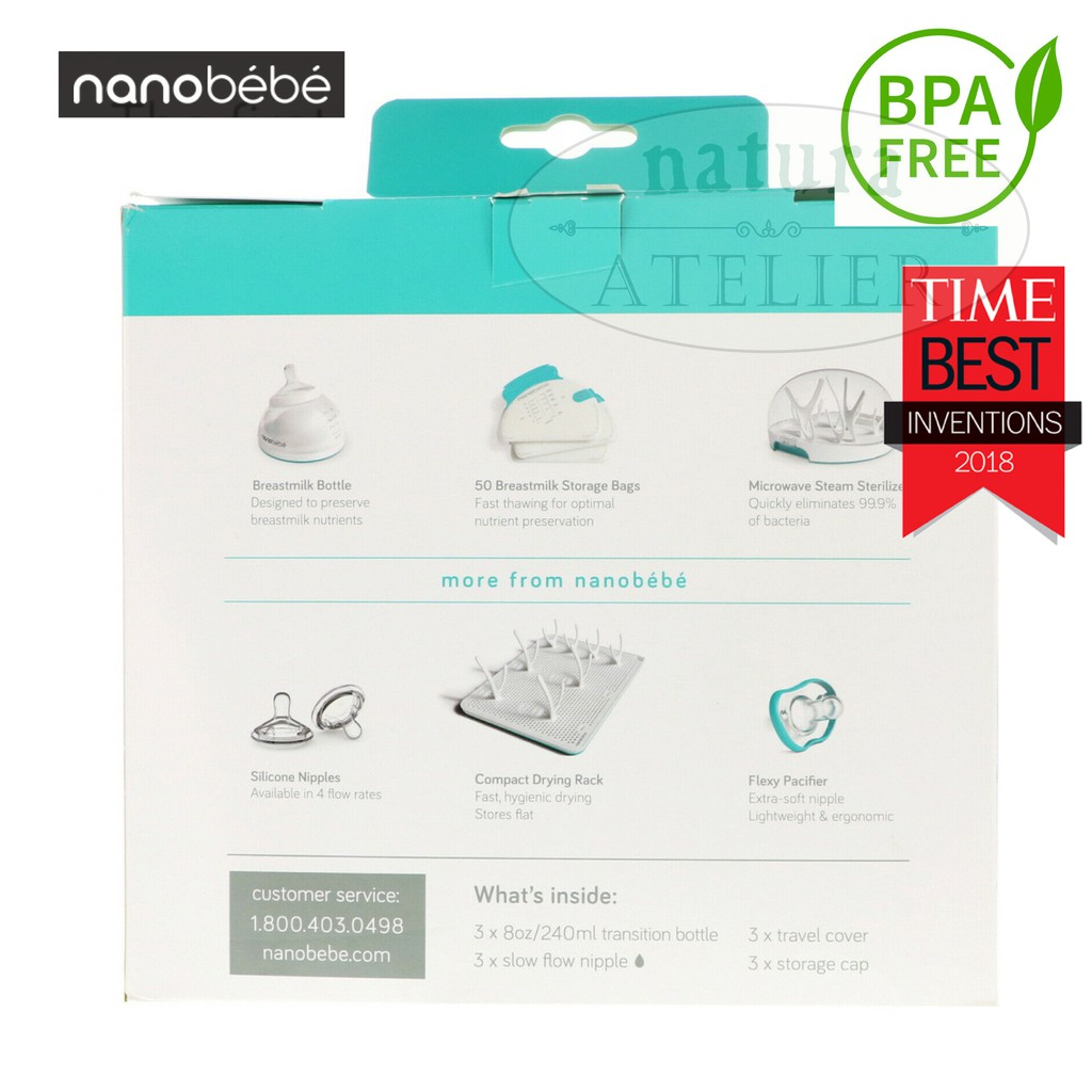 Nanobebe  Transition Bottle  Stage 2  Teal  3 Pack  8 oz  240 ml  Each