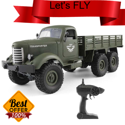 Great Discount JJR/C Q60D 1/16 2.4G 6WD RC Off-road Military Truck Transporter-1 Army Car DIY Toy (Green)
