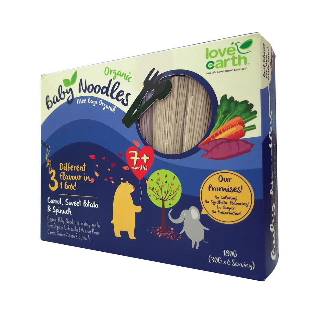 Organic Baby Noodles Carrot, Sweet Potato & Spinach 180G (30G X 6 Serving)