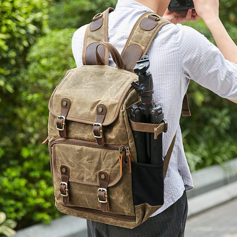Large Capacity Camera Bag Outdoor Wear-Resistant Backpack Double-Shoulder DSLR Bag Batik Canvas Waterproof Photography Bag for Canon Nikon