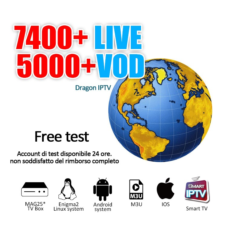 1 Year Dragon IPTV Smarters 7400+Live TV Full Europe Southeast Asia Channel