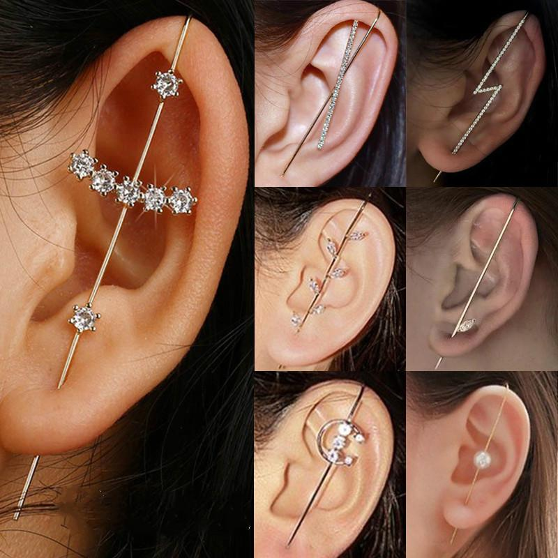 Ear Cuffs Crawler Hook Earrings for Women Gold Hypoallergenic Piercing Ear Wrap Climbers Earrings Simple Pearl Cubic Zirconia Rhinestone Hoop Earrings
