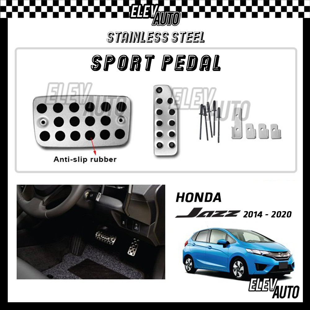 Honda Jazz 2014-2020 Stainless Steel Sport Pedal with Anti-slip Rubber
