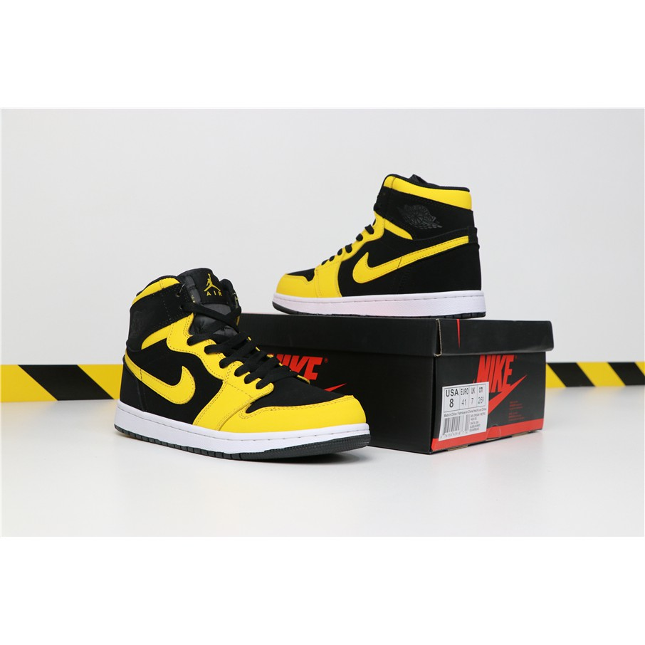 online store 2124b cb901 Nike Air Jordan 1 AJ1 MID Men's Shoes Black yellow Outdoor sport Basketball  shoes