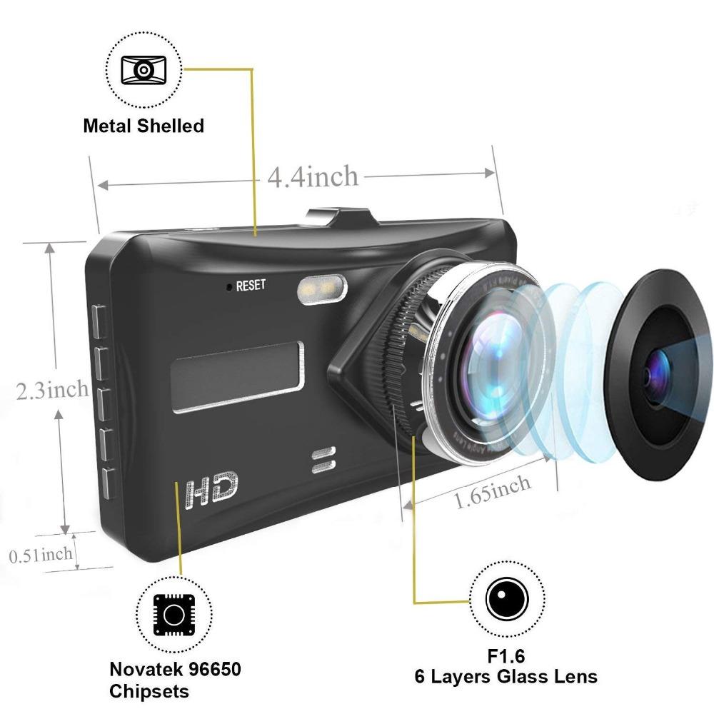 Dash Cam Dual Lens Touch Screen FHD1080P 4