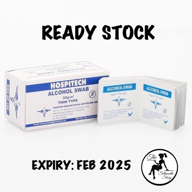 [READY STOCK] Hospitech Alcohol Swab 100\'s (70% Isopropyl Alcohol, To Kill Virus Bacteria, Suitable To Sanitize Hand)