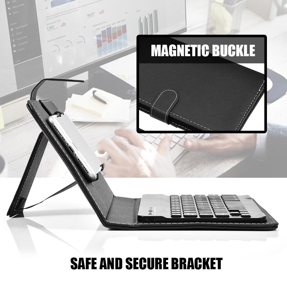 Mingxiu Bluetooth Keyboard Rotating PU Leather Folio Case Cover Stand For  Smartphone LJ