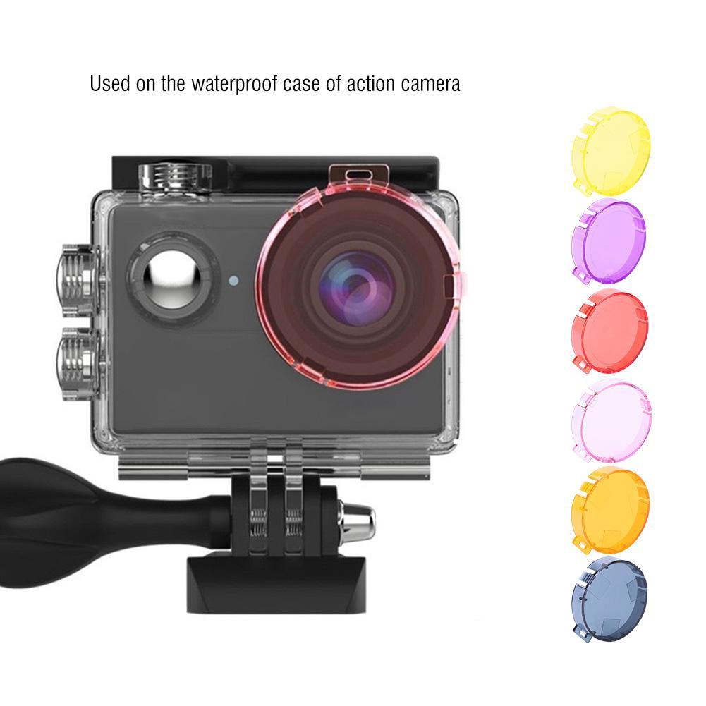 1.57inch 6 Colors Colored Action Camera Underwater 20m Lens Correction Filter Set for AKASO EK7000,Yellow Orange Pink Purple Red Filter Camera Lens Filter Sets for AKASO EK7000
