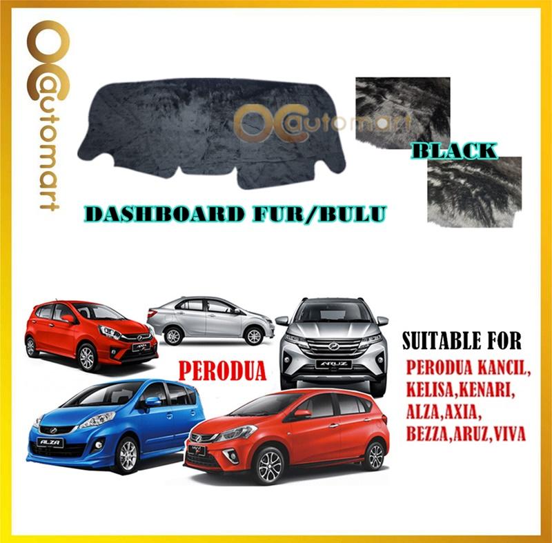 Customized Dashboard Cover Fur / Bulu Full Black Colour For Perodua Myvi,Kelisa,Kenari,Kancil,Aruz,Axia,Viva,Alza,Bezza