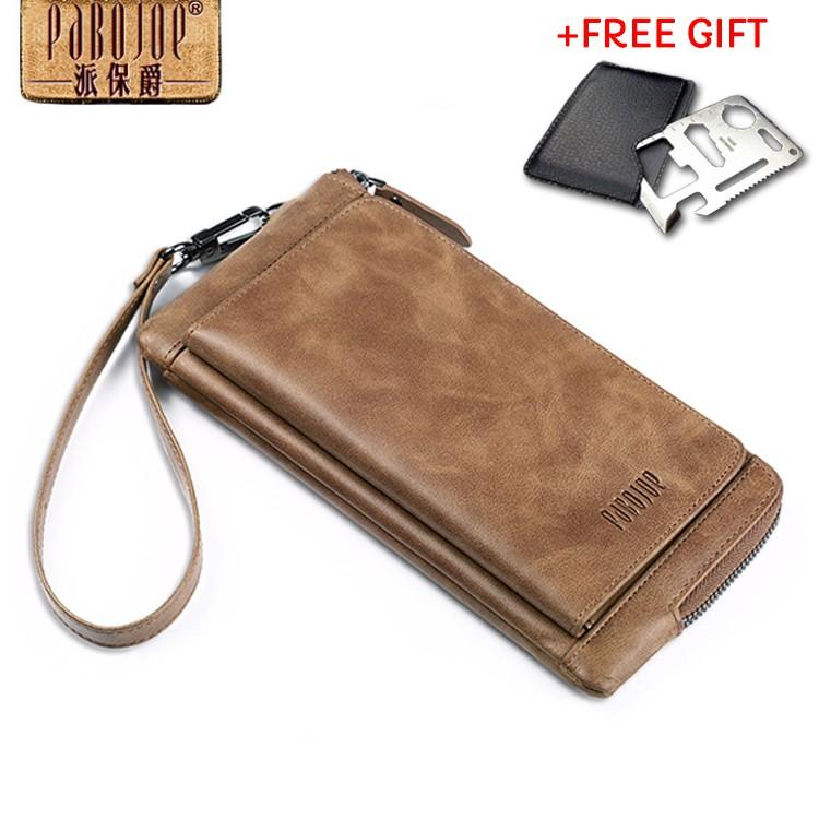 POLO FEIDKA Genuine Leather Men Long Wallet Hand Carry Bag  3dd0d9c99da56