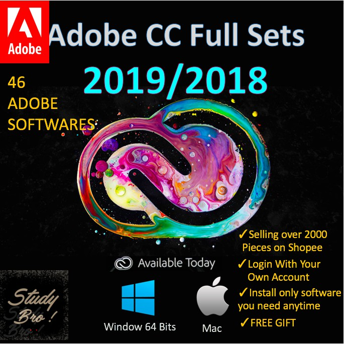 Adobe CC 2019/2018 Full Set LIFETIME [Window 64Bit/ 32Bit/Mac OSX]
