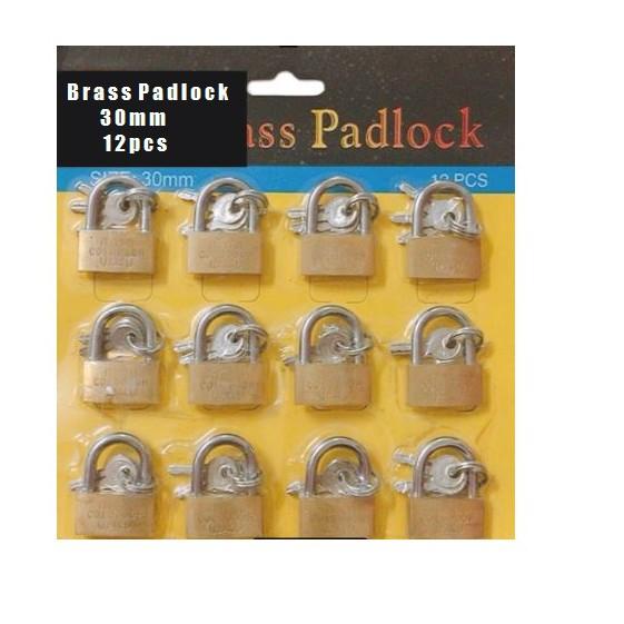 MINI Brass Padlock Premium Quality 12pcs per pack 30mm