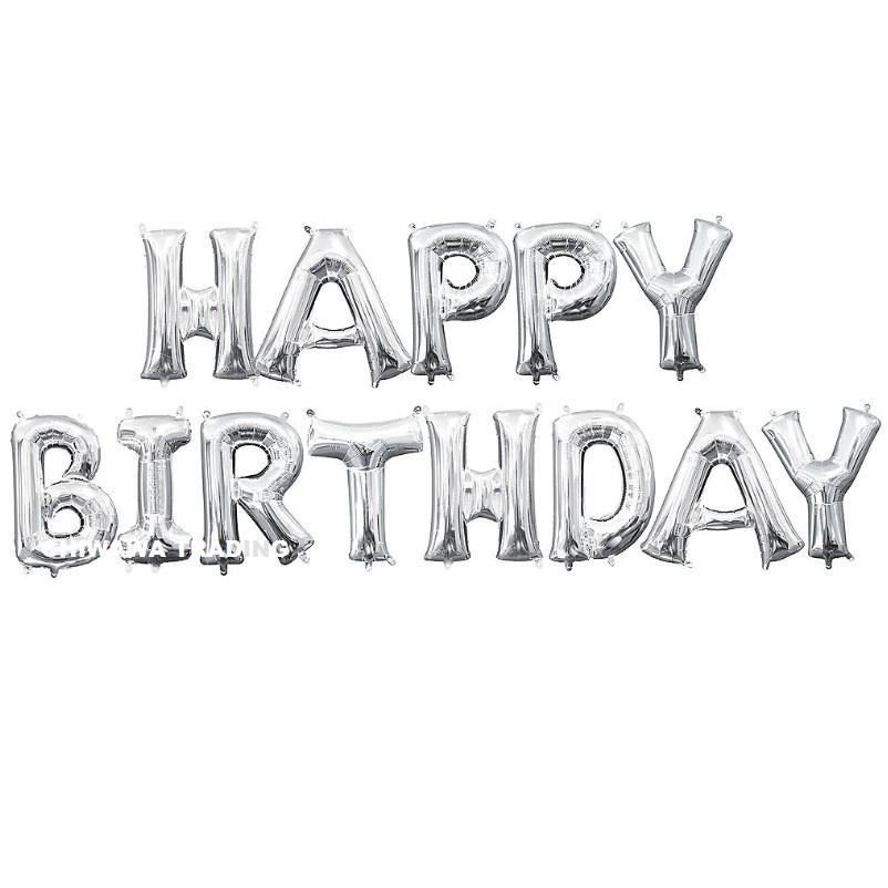 13 Pcs 16 Inch Happy Birthday Letter Balloon Aluminum Foil Alphabet Balloons Anniversary Party Wedding Decor Belon