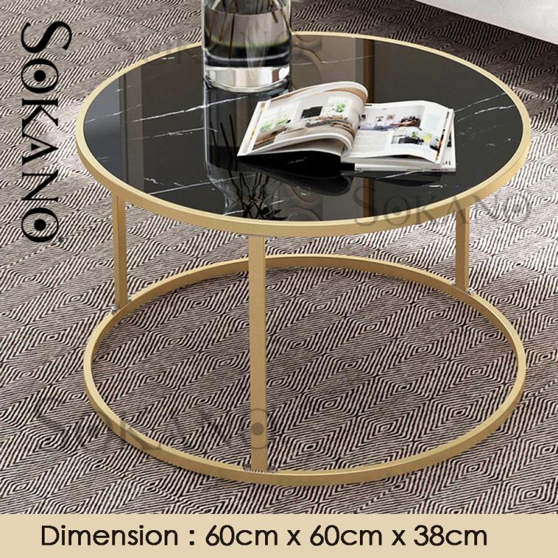 Nordic Style Round Coffee Table Side Table Small Table With Marble Strap Surface Living Hall Furniture Shopee Malaysia