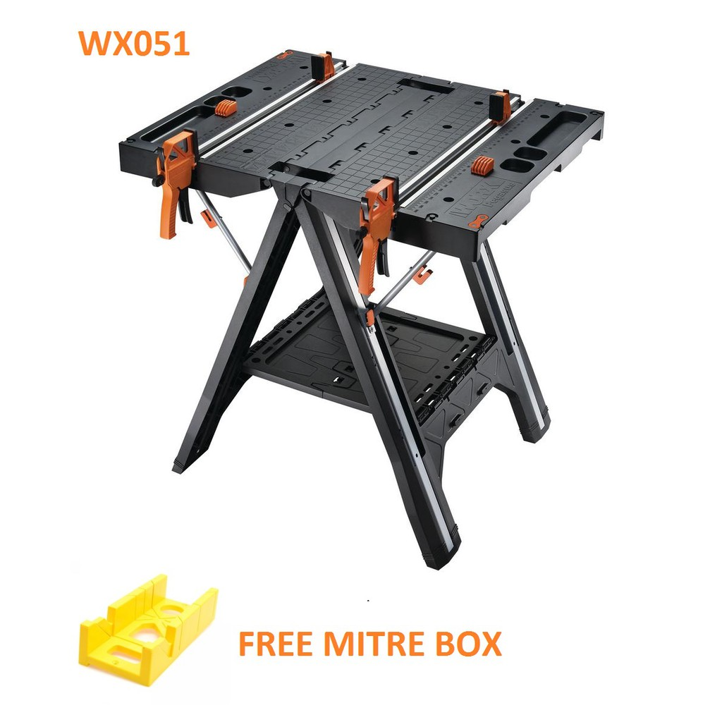 WORX WX051 135KG Pegasus Folding Work Table BENCH Sawhorse With Quick Clamps