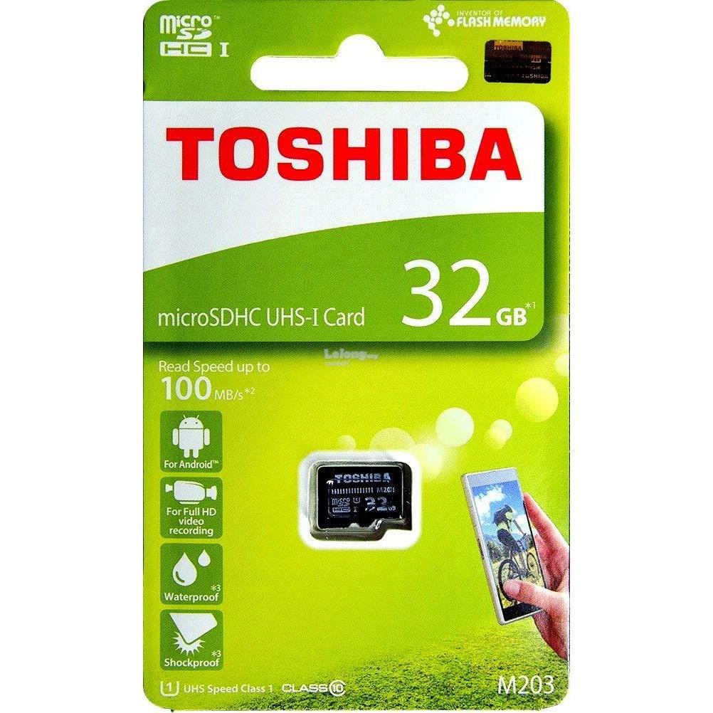 Toshiba M203K 32GB MicroSDHC U1 Class 10 Memory Card 100MB/s THN M203K0320