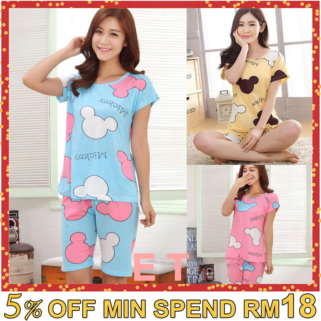 [1Set = Baju+Seluar] Mickey Baju Tidur women clothing sleepwear pajamas ETN