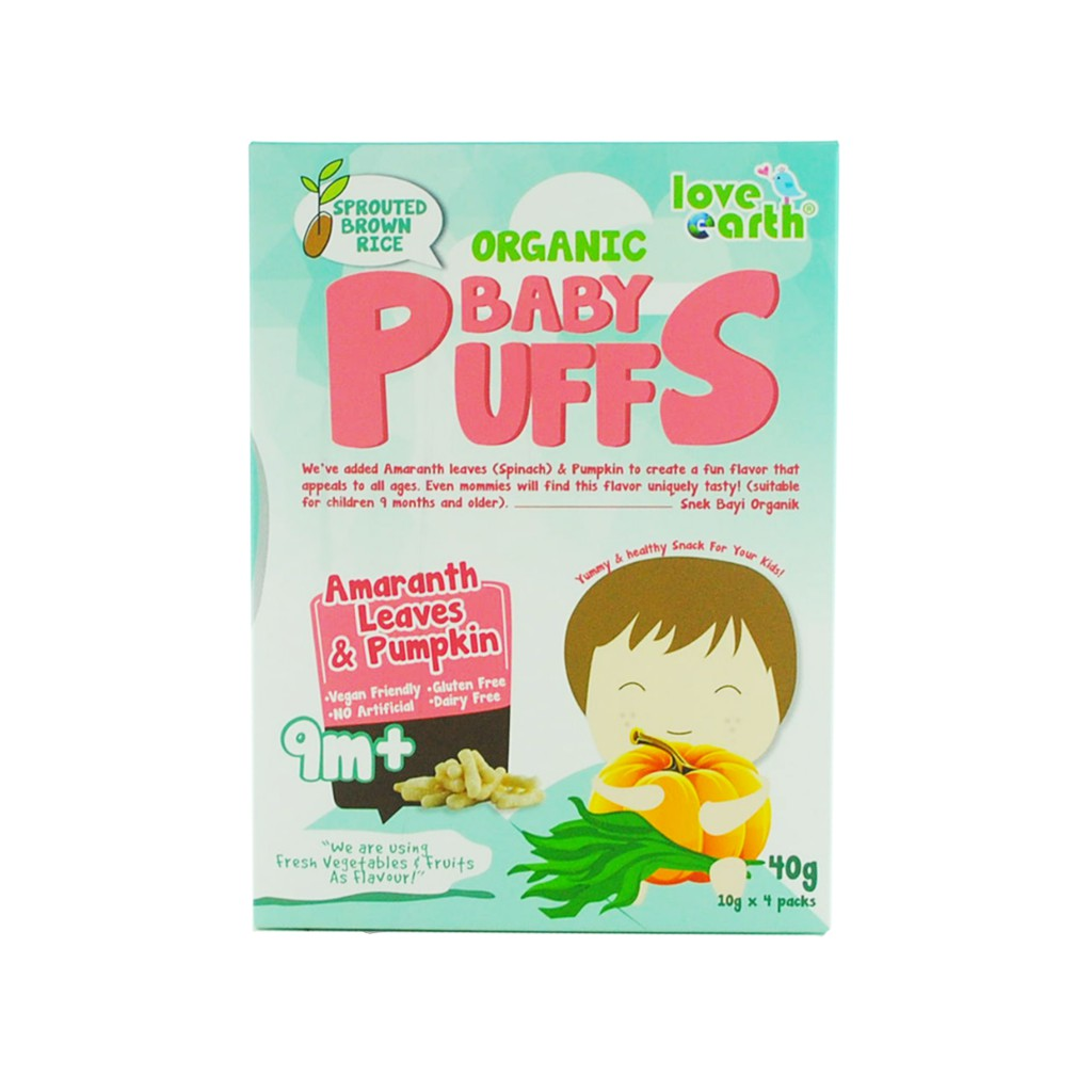 Organic Baby Puffs Amaranth Leaves & Pumpkin 40G (10G X 4 Serving)