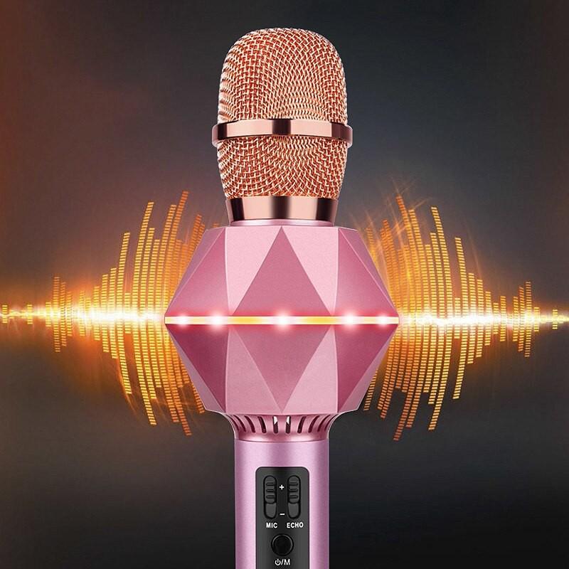 JM PREMIUM K7 WIRELESS BLUETOOTH MICROPHONE 3D HIFI SOUND GOOD BASS VOCAL COLOR LIGHTING EFFECT PORTABLE RECHARGEABLE